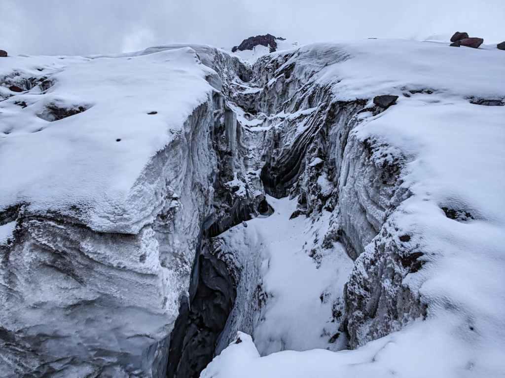 Kazbek glacier crevasse