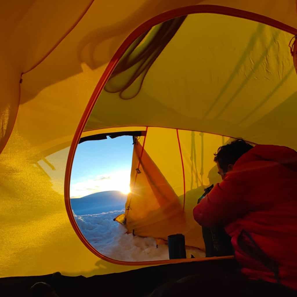 Kazbek high camp stove tent glacierglacier mountaineering