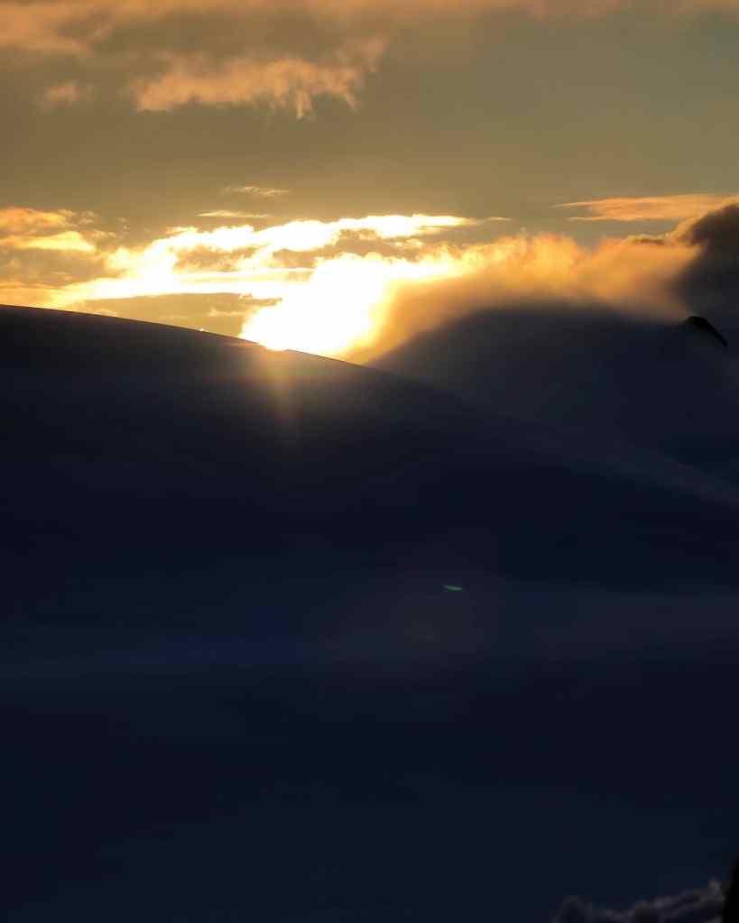 Kazbek glacier sunset tent highcamp
