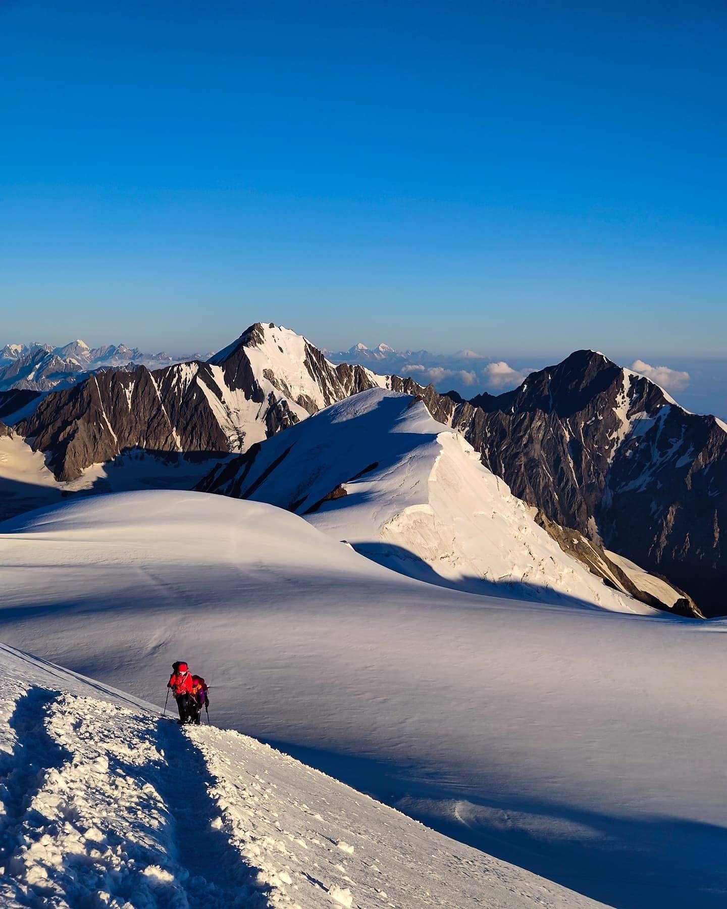 Kazbek sunrise summit caucasus glacier climbing russia georgia mountaineering