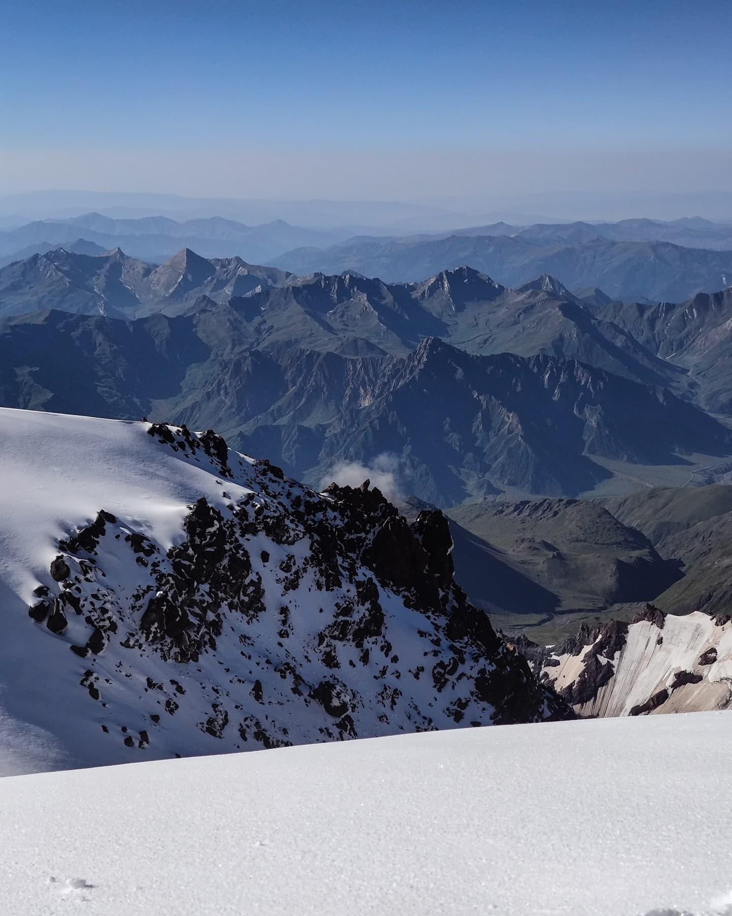 Kazbek view  summit caucasus glacier climbing russia georgia mountaineering climber mountain kazbegi