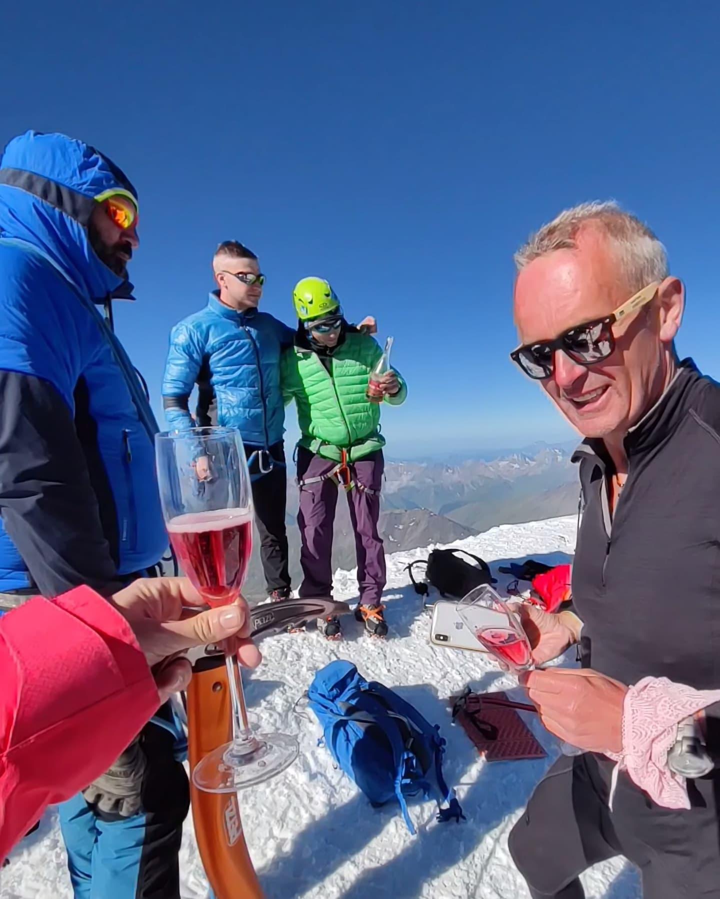 Kazbek champagne summit caucasus glacier climbing russia georgia mountaineering climber mountain kazbegi