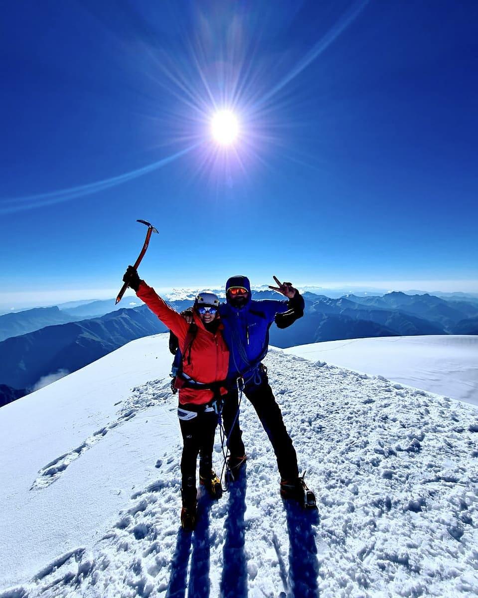 Kazbek summit caucasus glacier climbing russia georgia mountaineering climber mountain kazbegi