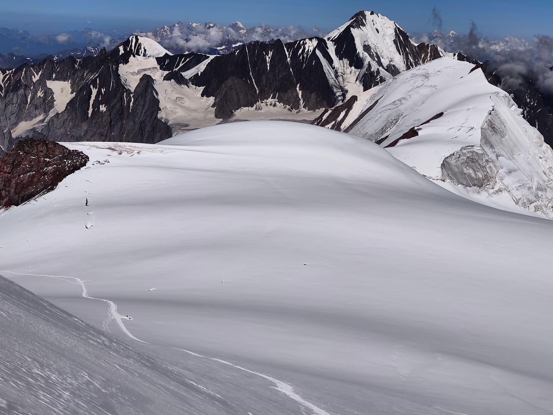 Kazbek glacier summit plateau 5054m Georgia Caucasus mountains