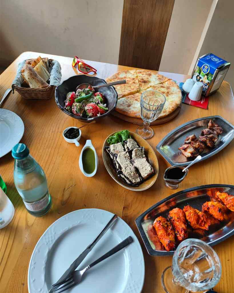 Stepantsminda Georgia food Kazbek lunch